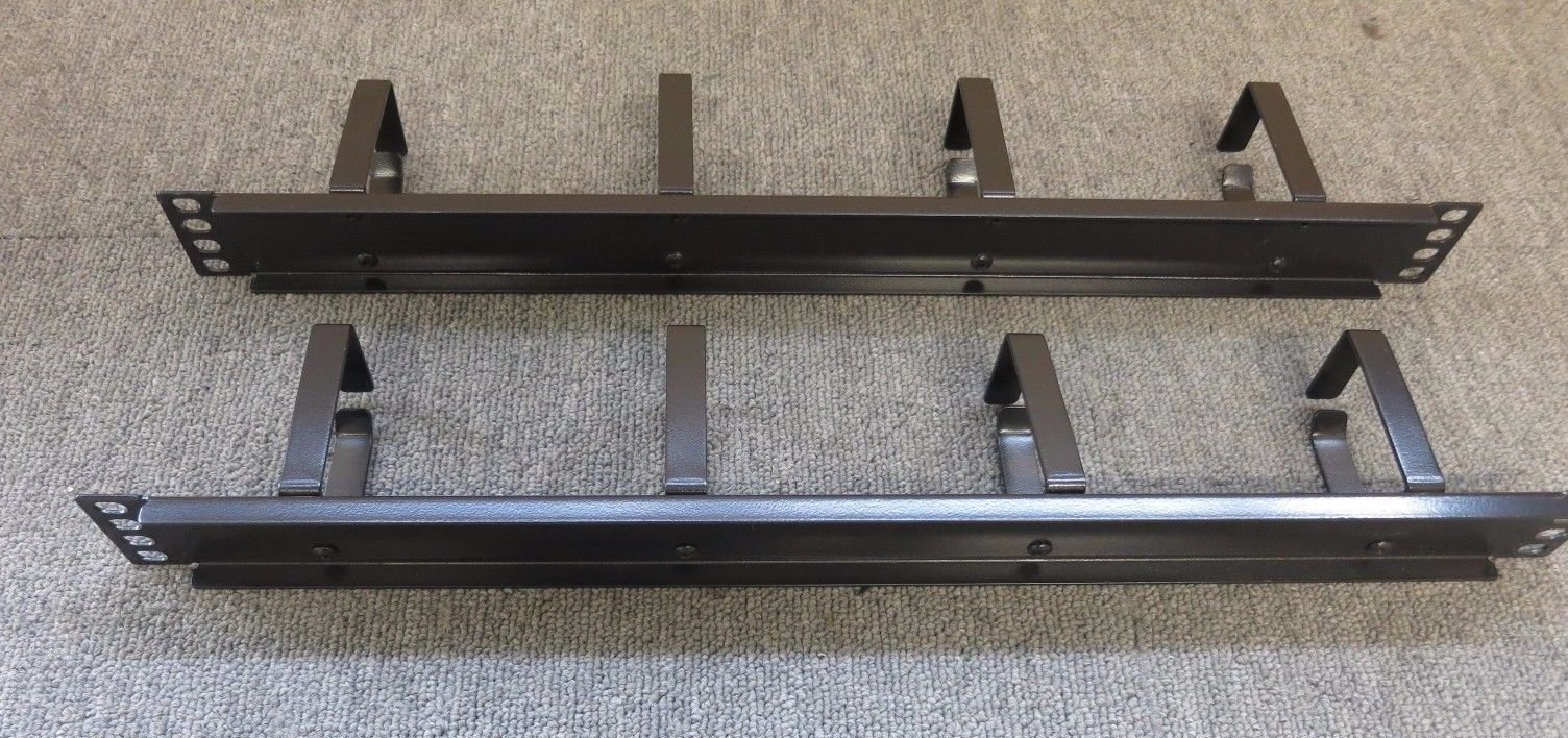 2 x Black 4 Ring Hoops Cabinet Cable Tidy Bar Vertical 19 1U